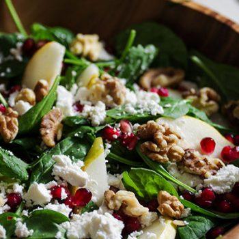 Spinach, Pear & Feta Salad